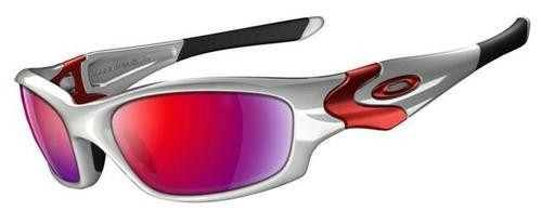 Oakley Straight Jacket 04-329 White Chrome +Red Sunglasses