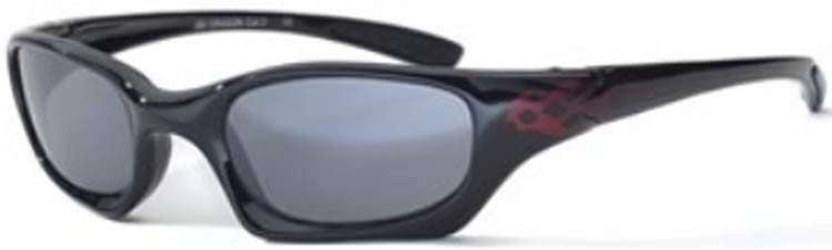 Bloc Junior Dragon J80 (8-12 Years) Shiny Black / Red Flame - S11 Smoke Lens